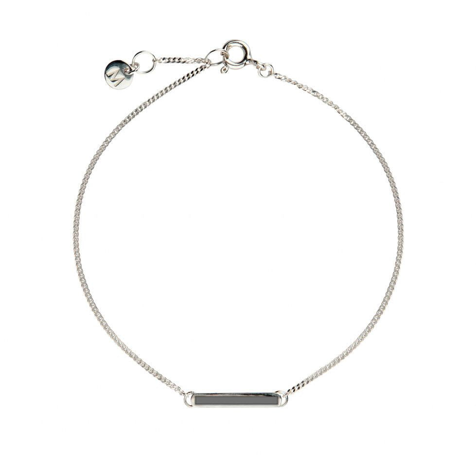 Grey Little Bar of Strength - Wrist (Sterling Silver)