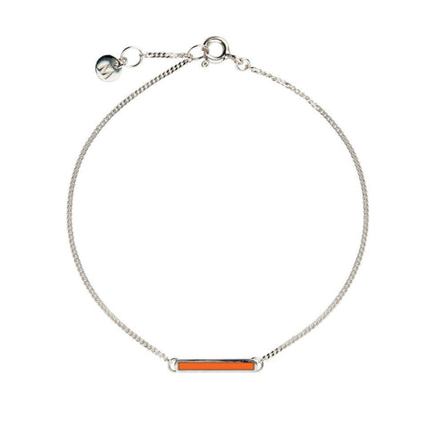 Orange Little Bar of Strength - Wrist (Sterling Silver)