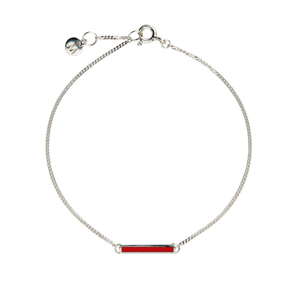 Red Little Bar of Strength - Wrist (Sterling Silver)