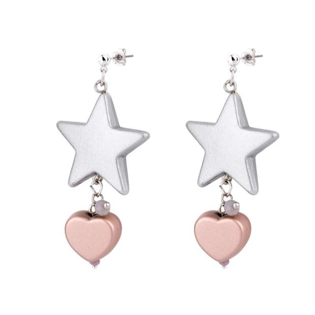Star-Heart Drop Earrings