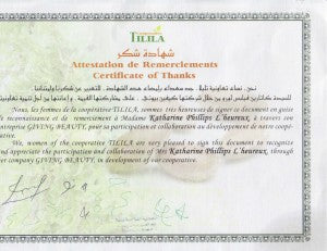 Certificate of Thanks signed by the women of Cooperative Tilila