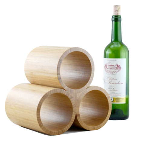 Three Bottle Bamboo Wine Rack