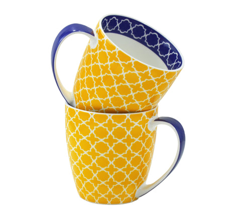 2-pc Pattern Mug Set, Yellow, 17oz