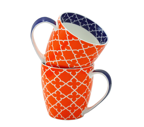 2-pc Pattern Mug Set, Orange, 17oz