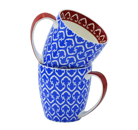 2-pc Pattern Mug Set, Blue, 17oz