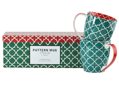 2-pc Pattern Mug Set, Green, 17oz