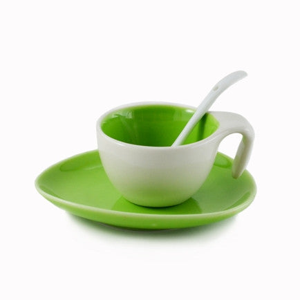 Espresso Cup & Saucer w/ Spoon - Apple Green, Set of 6
