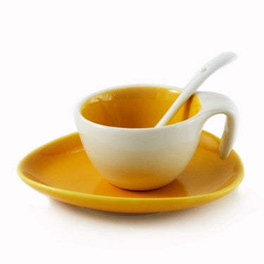 Espresso Cup & Saucer w/ Spoon - Yellow, Set of 6