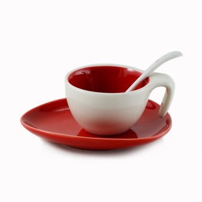 Espresso Cup & Saucer w/ Spoon - Candy Apple Red, Set of 6