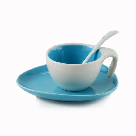 Espresso Cup & Saucer w/ Spoon - Aero Blue, Set of 6