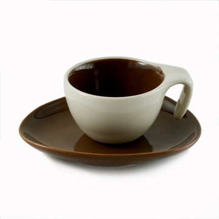 Espresso Cup & Saucer w/ Spoon - Brown, Set of 6