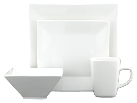White Tie Dinnerware Set, 16 Pieces