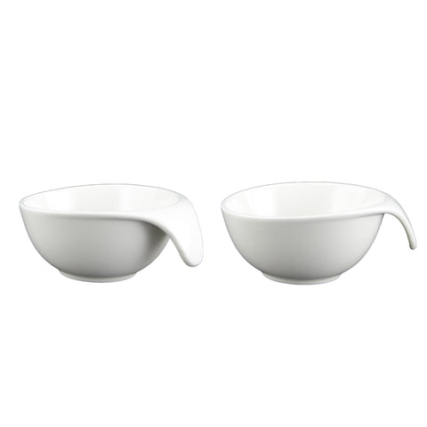 White Tie Handle Bowl, Set of 2