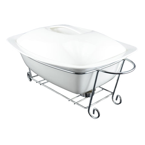 White Tie Rectangular Casserole with Warmer, 13¼
