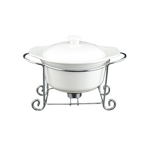 White Tie Round Casserole with Warmer, 10½