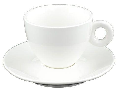 White Tie Cup and Saucer, Set of 4