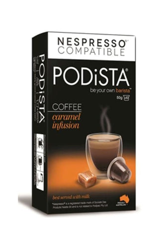 PODiSTA Caramel Infusion Pod 10pk, Compatible with Nespresso Machines