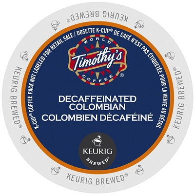 Timothy's® Decaf Colombian Single Serve K-Cup®, 96 Pack