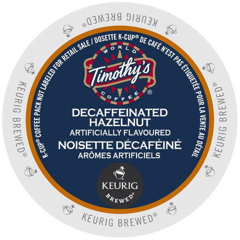 Timothy's® Decaf Hazelnut Coffee Single Serve K-Cup®, 96 Pack