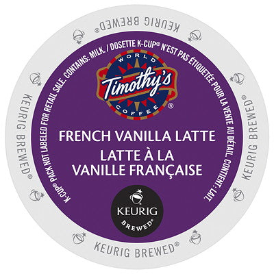 Timothy's® French Vanilla Latte Single Serve K-Cup®, 96 Pack