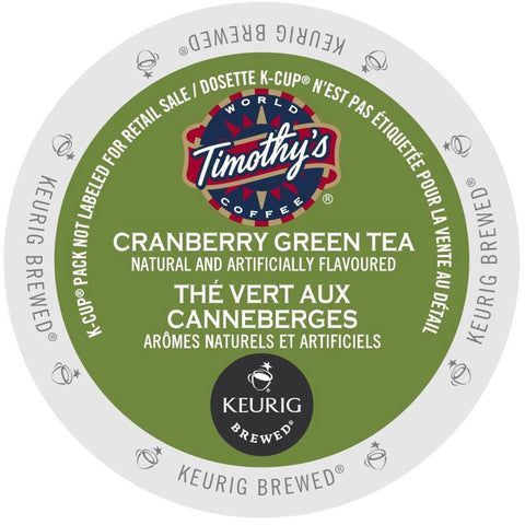 Timothy's® Cranberry Twist Green Tea Single Serve K-Cup®, 96 Pack