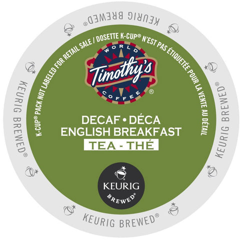 Timothy's® Decaf English Breakfast Tea Single Serve K-Cup®, 96 Pack