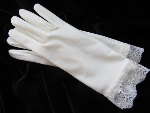 #5555 Wrist Length Bridal Gloves with Lace Trim