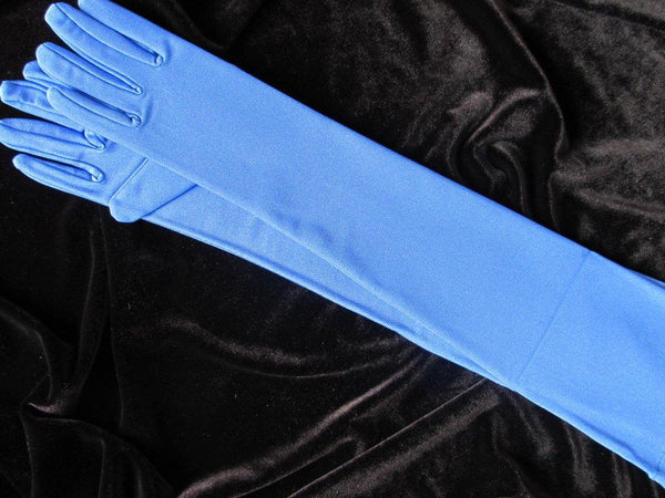 #9579Sp Cornflower Matte Satin Evening Glove