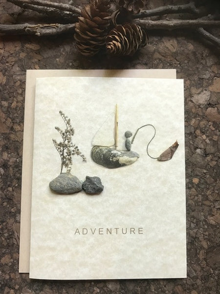 "Pebble Art ""Adventure"" greeting card"
