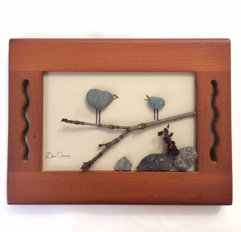 Birds on a Branch Pebble Art
