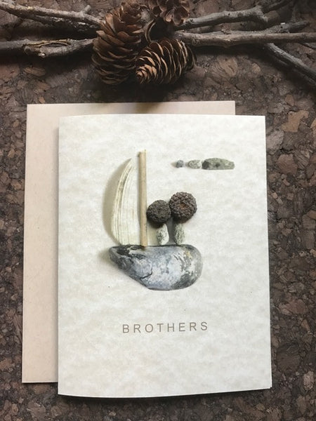 "Pebble Art ""Brothers"" Greeting Card"