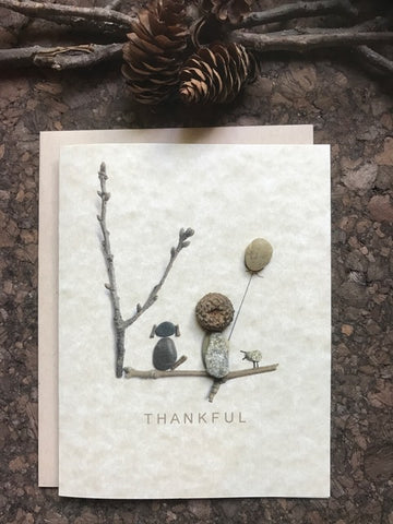 "Pebble Art ""Thankful"" Greeting Card"