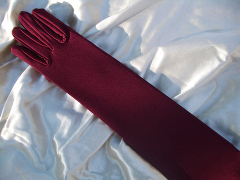 #9570Sp Burgundy Matte Satin Gloves Special