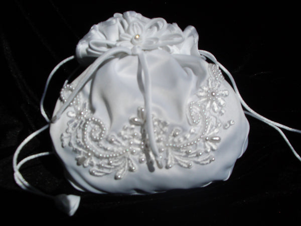 bridal purse with flower and pearl detail