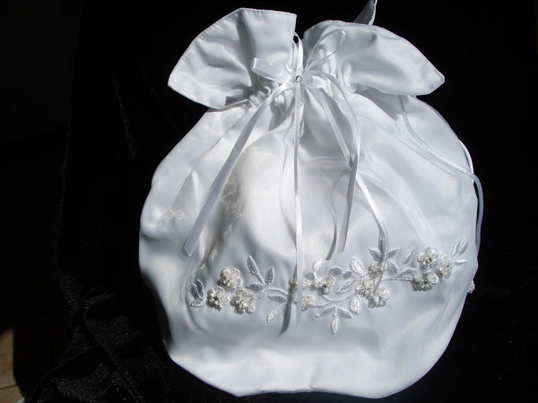 #632 Bridal Money Bag w/ Floral Embroidery and Rhinestone Detail