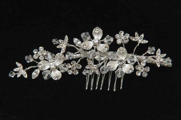 #5800 Exquisite Bridal Hair Comb w/ Crystal, Rhinestone and Flower Detail