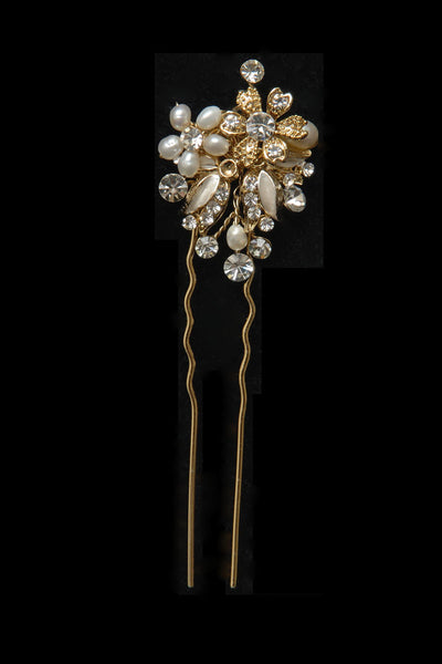 Crystal and Freshwater pearl hairpin in gold