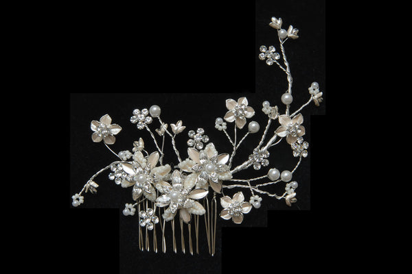 Bridal Hair Comb w/ Painted Flowers, Rhinestone and freshwater Pearls