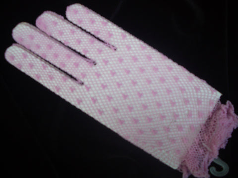 Pink crochet evening gloves