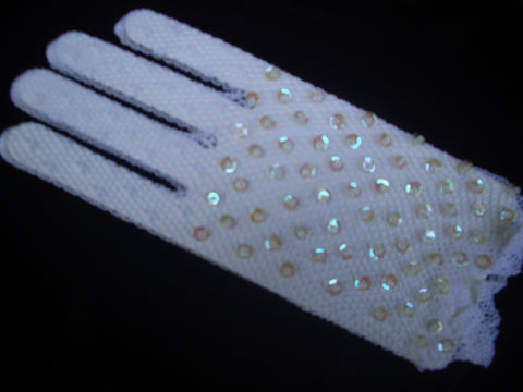 Crochet Gloves w/Sequin Detail