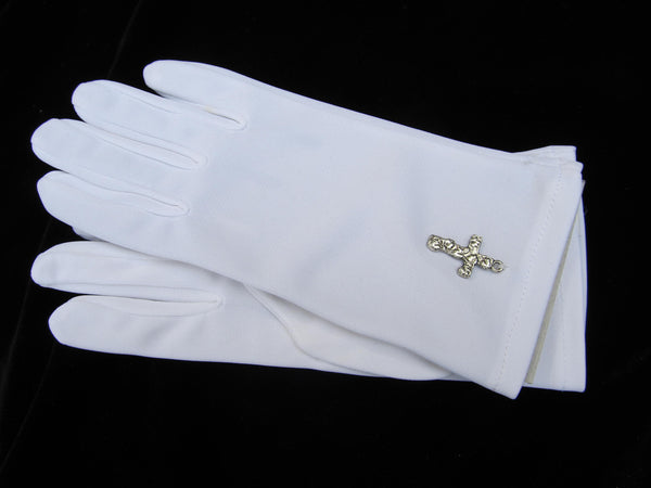Children's gloves with hand sewn cross charm