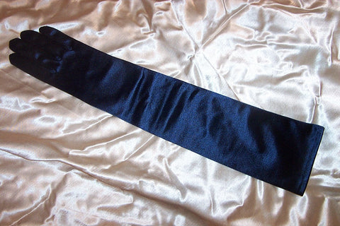 #9570Sp Navy Satin Evening Gloves