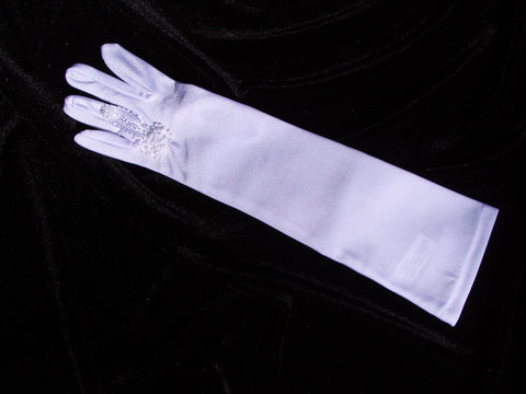 #9127 Bridal Glove with Ring Finger Opening and Lace Detail