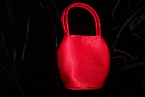 Red satin evening bag