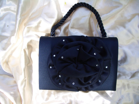 #09 Handbag w/ Rosette and Rhinestone Trim