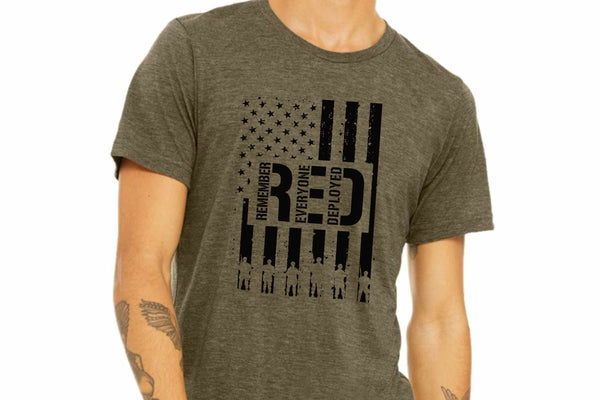 START SHIP 1/20 R.E.D. FLAG (BLACK INK) Remember Everyone Deployed SCREEN PRINT TRANSFER ONLY