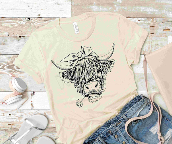 Highland Cow-Black Ink