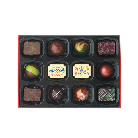Luxury chocolate gift box of 12 chocolates for birthday occasions.