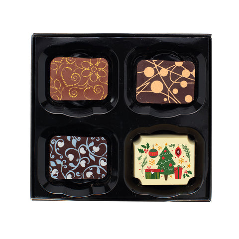 Four luxury chocolates including printed Christmas chocolate