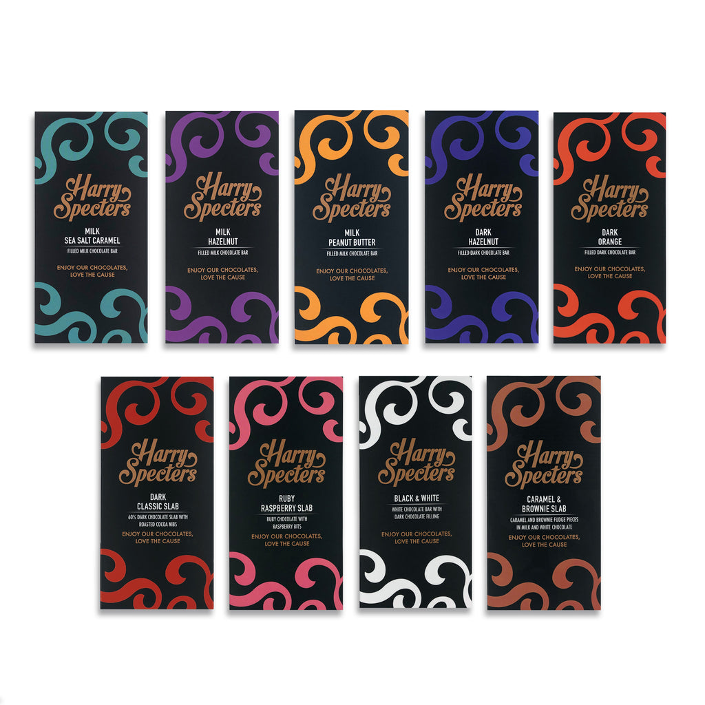 A range of chocolate bars in different flavours - the whole Harry Specters range